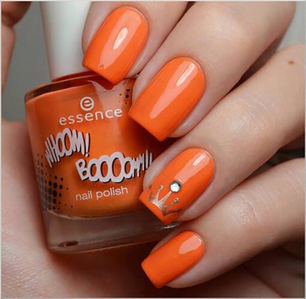 橘色系美甲